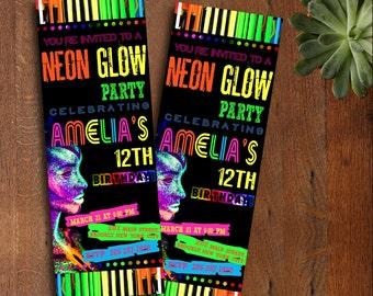 Glow Birthday Invitation, Glow Party Invitation, Glow Invitation, Neon Birthday Invitation, Neon Glow Invitation, Neon Thank You Card | NG_6