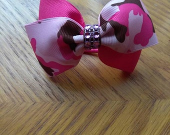 Camouflage hair bow set, pink camo hair bow, pink hair bows, hunting hair bow, buck hair bow, hair tie set, pink military bow, birthday bows