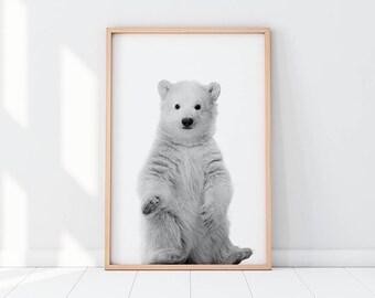 Bear, Bear Printable, Bear Print, Polar Bear Print, Bear Cub, Baby Bear, Polar Bear Poster, Ursus Maritimus, Black And White Print, Home Art