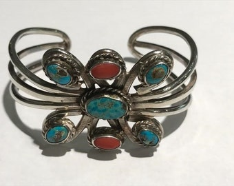 Statement Southwestern Sterling Silver Turquoise & Coral Cuff