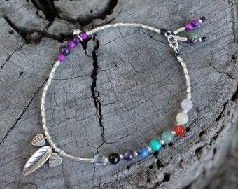 Chakra Love Anklet - Karen Hill Tribe Silver - gemstone beads