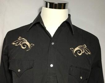 Vintage Eli Cattleman Western Rockabilly Pearl Snap Button Down shirt - cowboy shirt - rockabilly shirt - country music (Large)