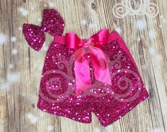 Hot Pink Girls Sequin Short