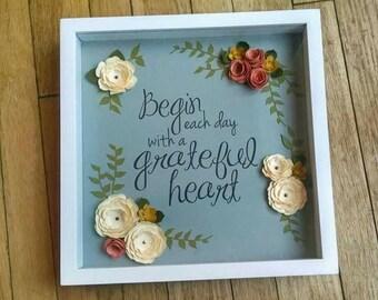 Grateful Heart - Paper Art - Shadowbox - Paper Flowers