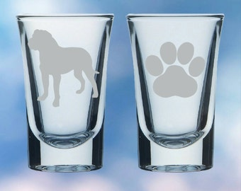 Set of 2 Bullmastiff and paw shot glasses - gift - permanently etched