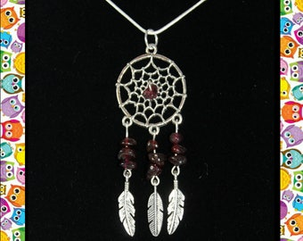 Garnet Dream Catcher Necklace