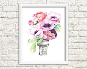 Poster 8 x 10 little ice cream cone anemone / flowers Illustration / drawing watercolor print / picture frame / Katrinn Illustration