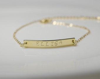 Initial gold bracelet ,bar initial bracelet,gold bracelet,flower girl bracelet, wedding bracelet, brimade gift, bridal party jewelry