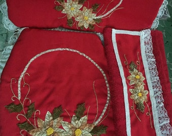 Red 3-piece bathroom hand embroidery with Ribbon set