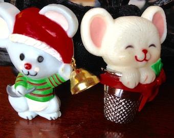Vintage Hallmark Christmas Mouse Pins Set of 2 1980's C-Clasp