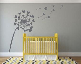 Heart Dandelion Wall Sticker Love Nature Vinyl Decal Bedroom Stencil Art Gift