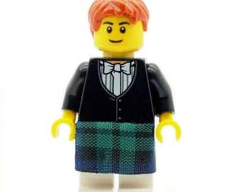Wedding Scottish Groom Minifig in Green Kilt & Bowtie Cake Topper - Made From LEGO