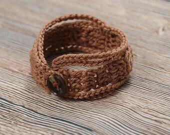 Crochet Wrap, Threaded Bracelet, Textile Jewelry, cotton cuff, Bracelet beige color, Friendship Bracelet, organic jewelry, lightweight gifts
