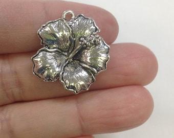 4 Big Hibiscus Flower charm, Flower Charm, Japanese Hibiscus Charm