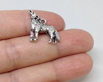 6 Coyote Charm, Animal Charm, Howling Coyote charm, Howling Wolf Charm