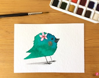 Flower bird - original illustration