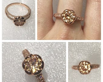 Champagne Zircon Rose Gold Ring