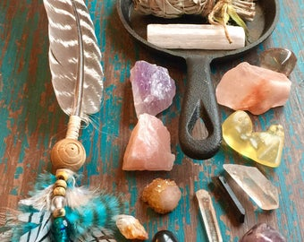 Smudge It Deluxe, Smudge Kit, Housewarming Gift, Turkey Feather, Cleansing Crystals, Palo Santo, Selenite, Rough Stones