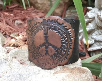 Polymer Clay Cuff Bracelet, Peace Sign Jewelry, Boho Jewelry