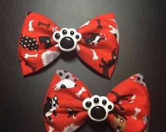 Medium red dog bow