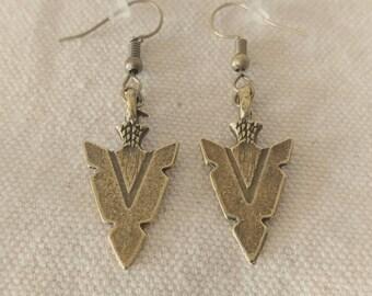 Bronze colored Arrow head Dangle Earrings