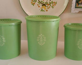 Vintage Bright Green Tupperware Canister 3pc. Set.  Tight fitting lids. Mid Century Kitchen Containers. Servalier. Made in the USA.