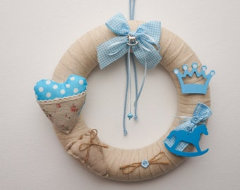 Baby Wreath, Baby Shower, Boy Wreath, Shower Gift, Newborn Wreath, Baby Birth, Baptism Decoration, Front Door Wreath, Home Decor, 12""
