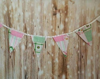 Pink and Green John Deere Pennant Banner- John Deere Birthday Decorations, Girls Birthday Party Decor, Children's Bedroom Wall Art, Girls
