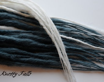 steel blue and white single ended dread fall hair extensions