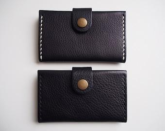 SALE  50% OFF --- Leather Card Holder, Leather Business Card Holder, Minimal Wallet - Black
