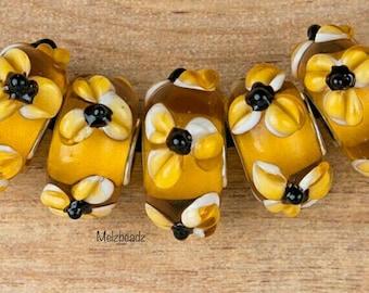 Large hole amber murano Lampwork glass bead,amber large glass bead,amber European glass bead,floral amber large glass bead,amber glass beads
