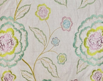 Cowtan & Tout Alma Embroidered Linen Fabric by the yard