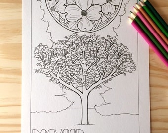 Coloring Page - Dogwood Tree