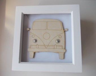 T1 Split Screen Picture -  Etched wood T1 Splittie with Sparkly headlights in white frame