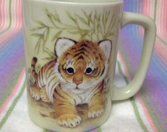 Vintage Otagiri Endangered Sumatran Tiger Cub Mug