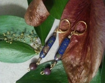 Blue Cloisonne Ruby Earrings