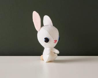 White rabbit ornament, Cute desk accessory, Stuffed felt animal, Kawaii felt plush, Nursery décor, Rabbit lover gift