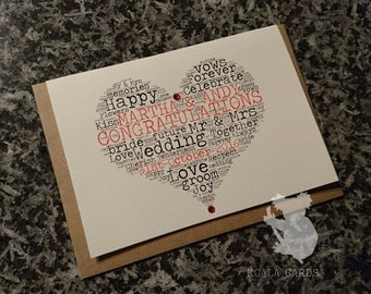 A5 luxury, embellished, handmade Wedding or Anniversary card personalised