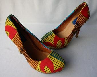 Multicolour Ankara Platform Heels, Size 5