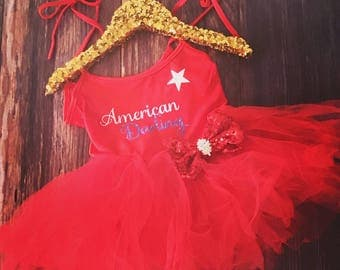 American Darling Girls Sparkly Posh Tutu - First Birthday- 4th of July - Fourth of July -Second Birthday- 1st 4th of July