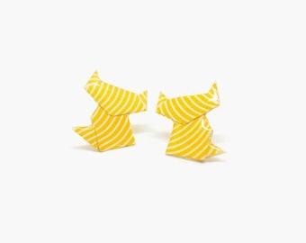 Stud earrings, cat earrings, cat stud earrings, origami earrings, paper earrings, origami jewelry, yellow earrings, jewel