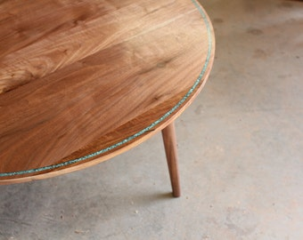 Round Black Walnut and Turquoise Coffee Table