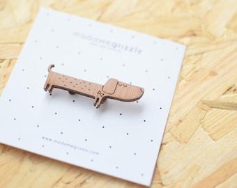"""Brooch/Pin's """"Sausage dog"""" wood"""