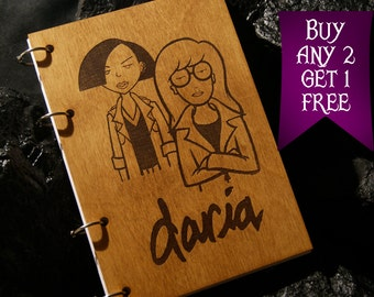 Daria and Jane wooden notebook / Daria notebook / sketchbook / diary / Daria journal / travelbook / Daria gift