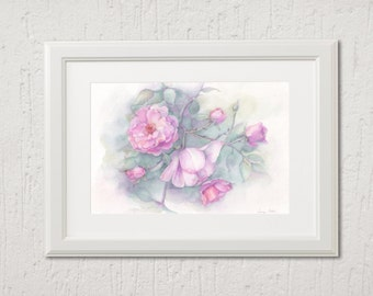 Original watercolor, pink roses 26cm x 18cm