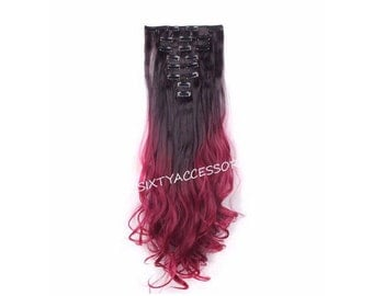 "Balayage Ombre Clip In Hair Extensions Ombre Hair Extensions Dark Brown / Red 24"" Wavy Curly Full Set Double Weft Hair Weave TOP QUALITY"