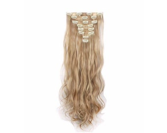 "Dark/Light Blonde Mix Hair Extensions Blonde Clip In Hair Extensions Full Set 24"" Curly Wavy Double Weft Hair Weave Best Wigs TOP QUALITY #1"