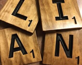 Large Scrabble Tiles Large  Letter Tiles carved