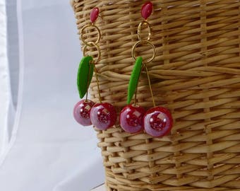 Porcelain earrings red cherries