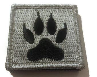 Black Paw embroidered Velcro patch, size 2 x 2